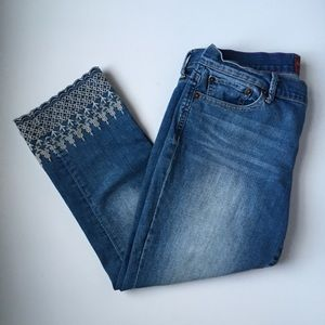 LUCKY BRAND sweet n crop embroidered jeans